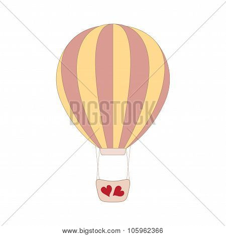 Vector wedding pink balloon on white