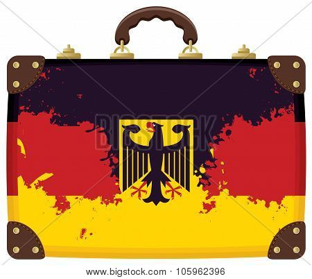 suitcase with a German flag