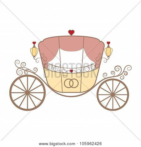 Vector wedding retro carriage with curls on white