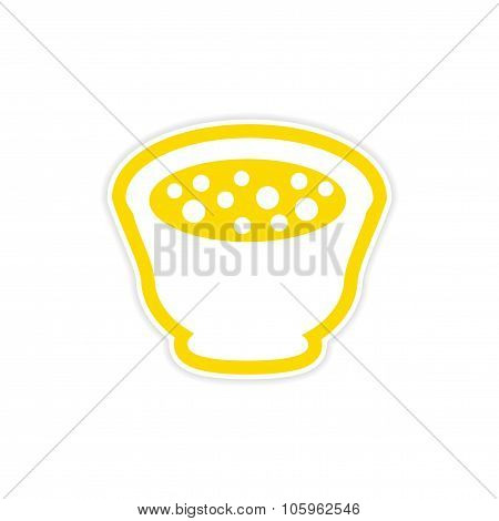 sticker miso soup plate on a white background