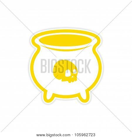 sticker witches cauldron with a skull on white background