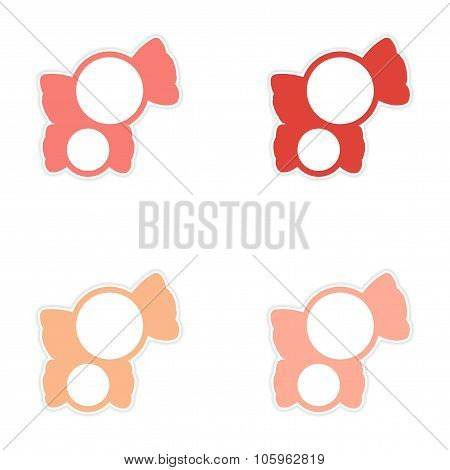 assembly sticker colored sweets sugar candies on a white background
