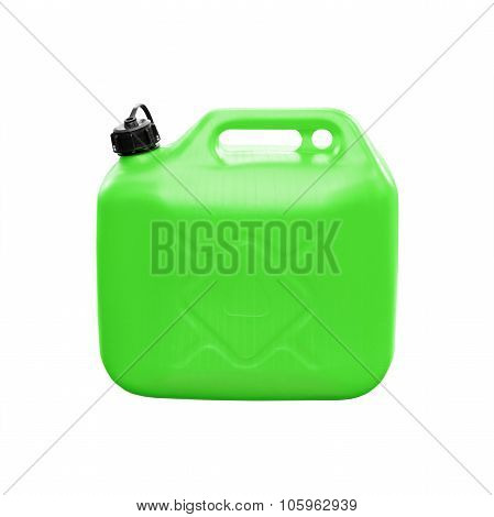 Green Plastic Jerrycan Isolated On White