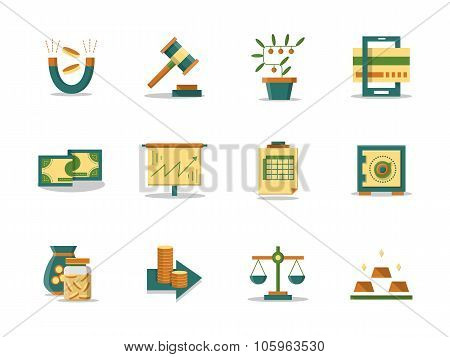 Money making flat color vector icons set