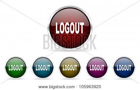 logout colorful glossy circle web icons set