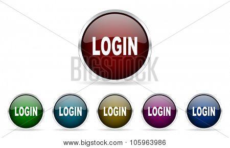 login colorful glossy circle web icons set
