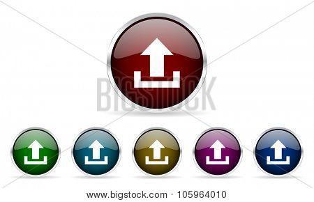 upload colorful glossy circle web icons set