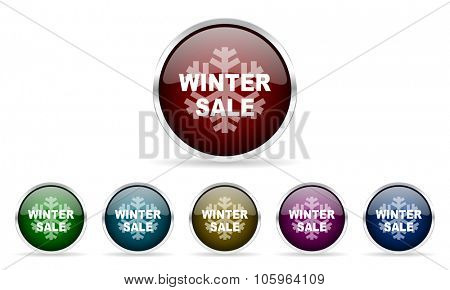 winter sale colorful glossy circle web icons set