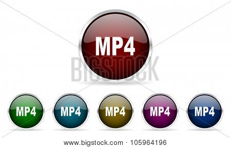 mp4 colorful glossy circle web icons set