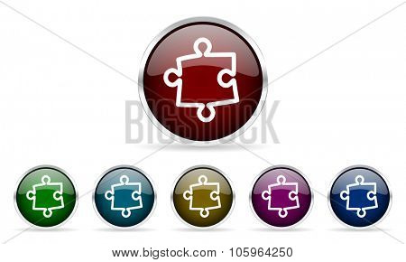 puzzle colorful glossy circle web icons set
