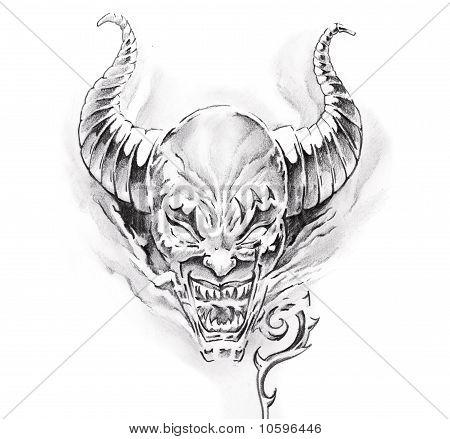 Arte del tatuaje, bosquejo de un diablo