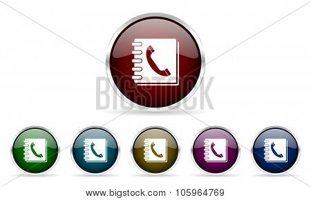 phonebook colorful glossy circle web icons set