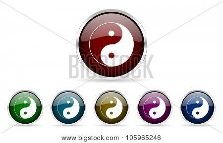 ying yang colorful glossy circle web icons set