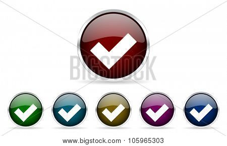 accept colorful glossy circle web icons set