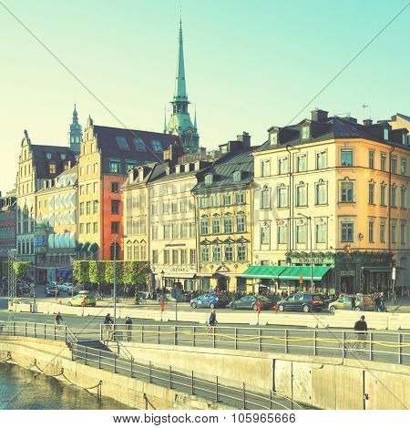 STOCKHOLM, SWEDEN - May 21, 2015: View of Old Town (Gamla Stan) in Stockholm. Instagram style filtered image