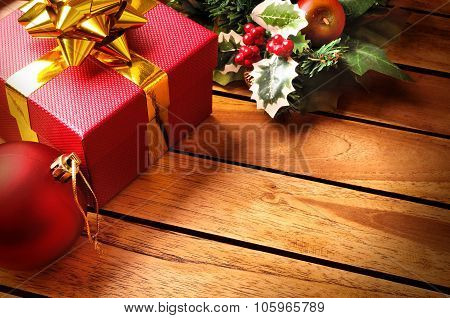 Christmas Decoration On A Table Wooden Slats Top Diagonal