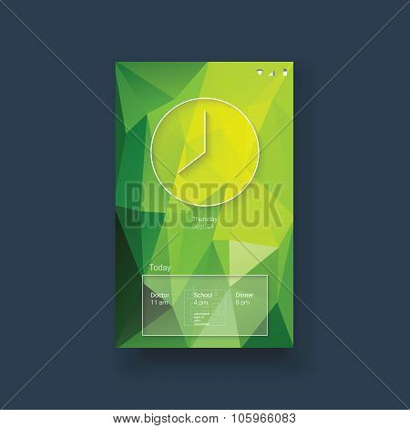 Smartphone mobile user interface app with clock and organizer line icons. Green low poly background.