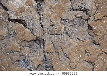 the details of dry cracked soil close up