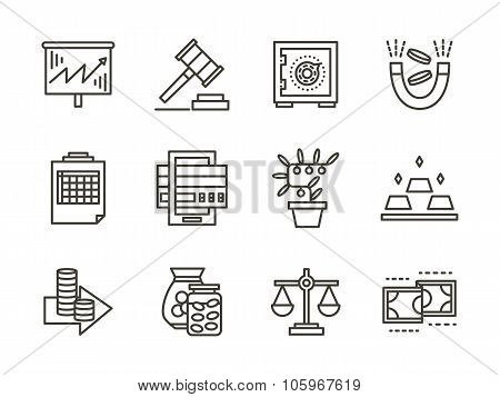 Finance black line vector icons set
