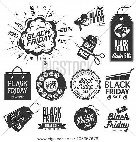 Black friday sale vintage labels set.