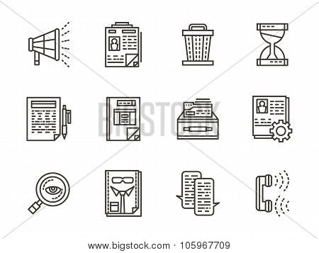 Human resource management black line vector icons
