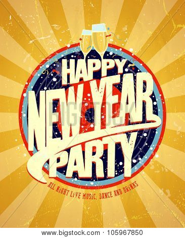 Happy New year party bright design.