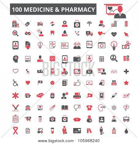 100 medicine technology, insurance icons