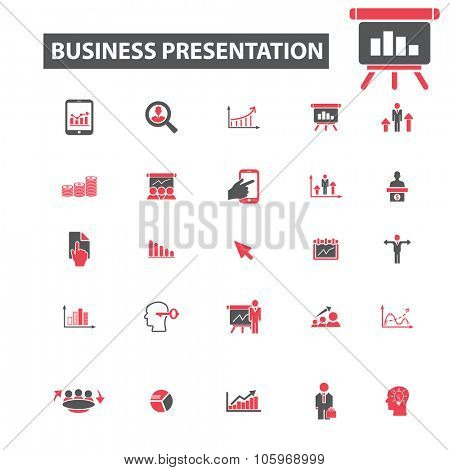 business presentation icons, charts, diagram icons