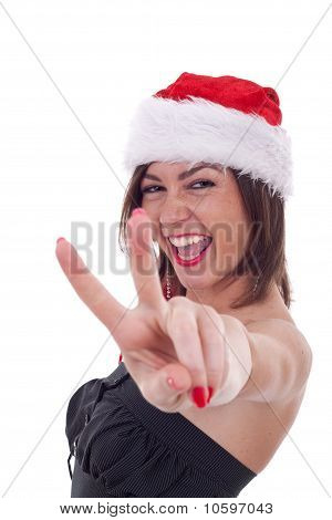 Santa Woman Making Victory