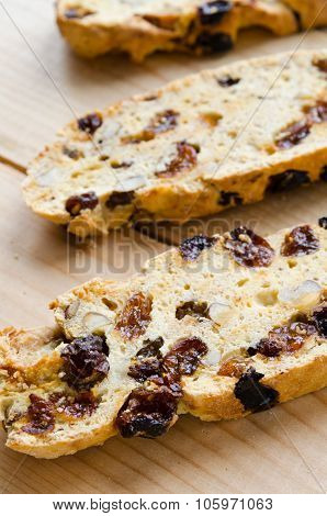 Homemade biscotti with raisins and nuts