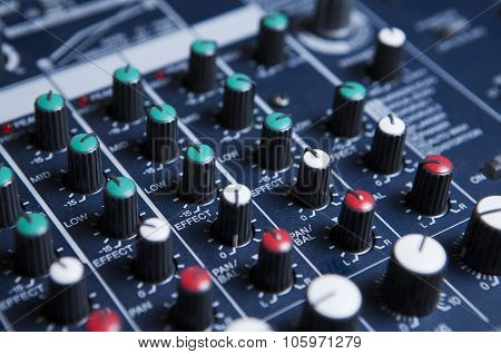 the a music Mixing console close up