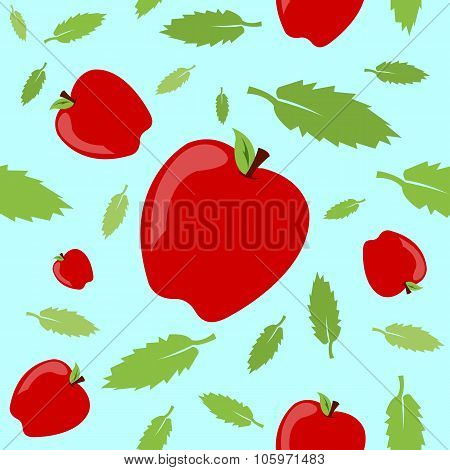 Apples And Leaves Seamless Pattern