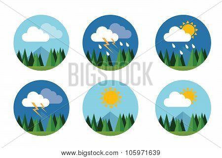 weather icon set flat vector forecast sky cloud sunny thunder