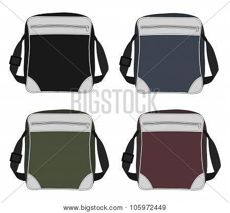 Shoulder bags set. Black, blue, green, red