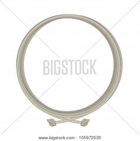 Round old rope frame. Color