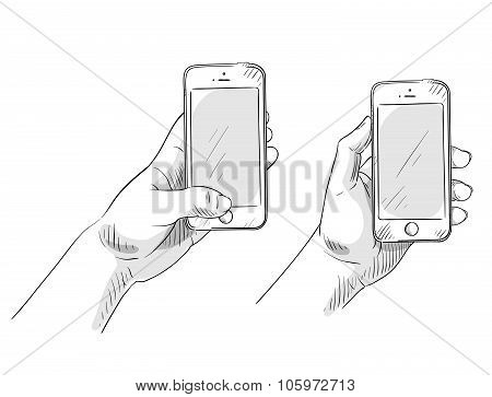 hand holding phone, hand drawn, vector illustration