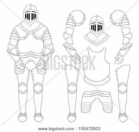 Medieval knight armor set. Contour