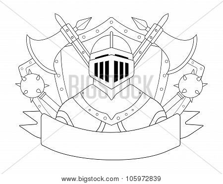 Medieval knight logo. Contour