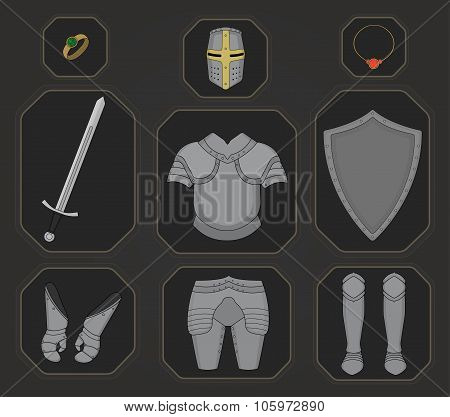 Game inventory. Knight armor set. Color