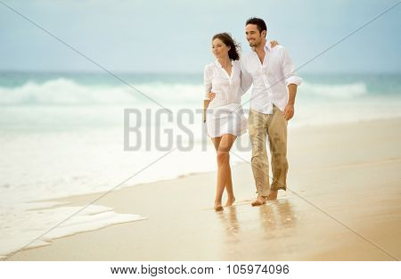 loving couple enjoying seascape, active lifestyle, romantic feelings, honeymoon on luxury beach resort, summer vacation concept