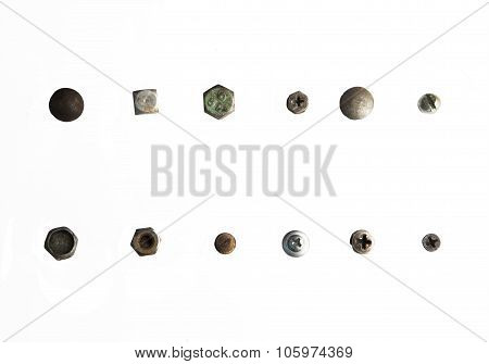 variations screws head close up isolated on white background