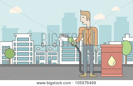 A caucasian man standing beside the oil can and holding filling nozzle on city background. Vector line design illustration. Horizontal layout with a text space for a social media post.