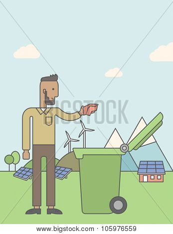 An african-american hipster man with beard puts a trash into a green bin. Vector line design illustration. Vertical poster layout with a text space.