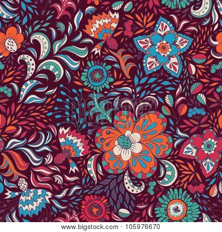 Vector Seamless Pattern With Colored Abstract Flowers And Berries On A Dark Background.