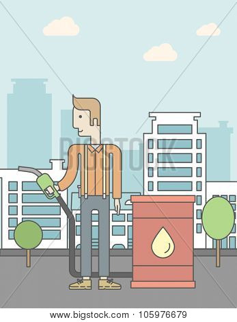 A caucasian man standing beside the oil can and holding filling nozzle on city background. Vector line design illustration. Vertical poster layout with a text space.