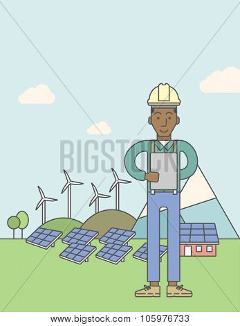 An african-american man in helmet with a tablet in hands on a background with solar pannels and wind turbins. Vector line design illustration. Vertical poster layout with a text space.