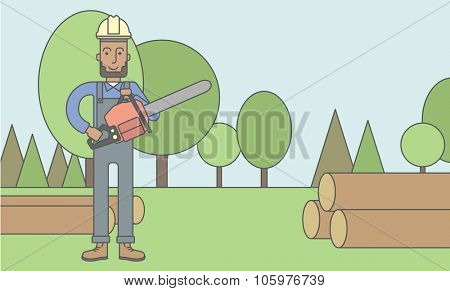 An african-american lumber-man with a chainsaw on a forest background. Vector line design illustration. Horizontal layout with a text space for a social media post.