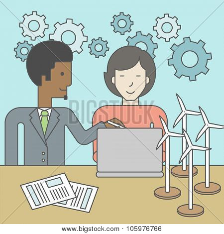 An african-american man and an asian woman watching the laptop screen, with wind turbine models and papers on the table. Vector line design illustration. Square layout.