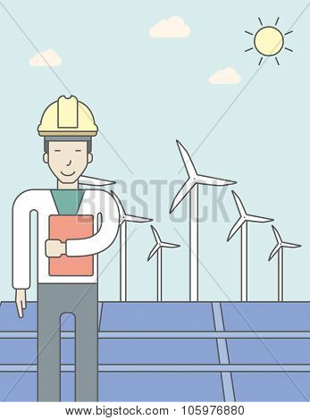 An asian man in helmet with a document in hands on a background with big solar panel and wind turbines. Vector line design illustration. Vertical layout with a text space for a social media post.