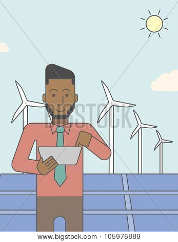 An african-american man with a tablet in hands on a background with big solar panel and wind turbines. Vector line design illustration. Vertical layout with a text space for a social media post.